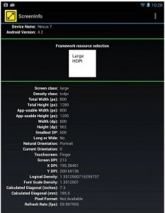 AndroidDevApp ScreenInfo