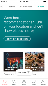 review of airbnb mobile app - places